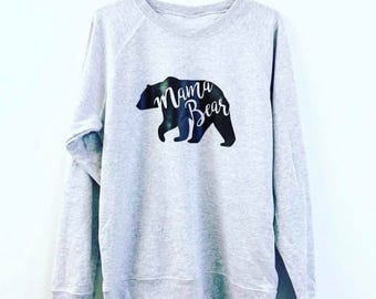 Grey and black mama bear jumper