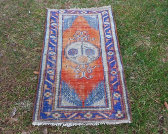 Oushak rug, pastel color anatolian rug, small size decorative rug Free Shipping  2.5 x 4.7 ft. bohemian rug, bathroom rug MB409