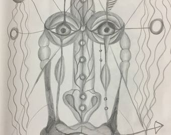 Crying woman. Pencil on paper. Graphic. Surrealism. Abstraction. Symbolism