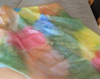 multicolored hand painted silk scarf