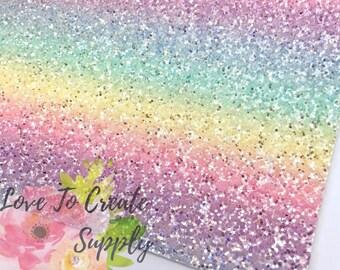 Rainbow chunky glitter leather