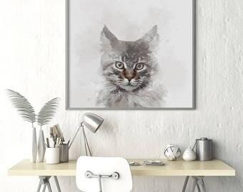 Grey Cat Watercolor Poster