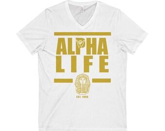 Alpha Life VNeck TShirt  White
