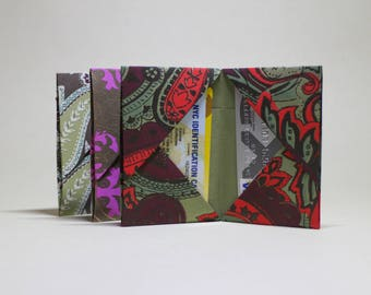 Set of 3 origami wallets made from hand stamped Indian paper - Card holders - Thin wallet - Minimun wallet - Light wallet - All natural