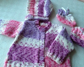 Cardigan, bonnet and  bootees for baby age 0-3 months