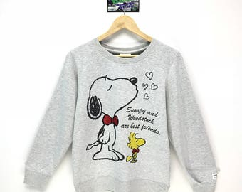 Rare!!! Vintage Peanuts Sweatshirt Peanuts Snoopy Big Logo Spell Out Snoopy Cartoon Pullover Jumper Sweater Crew Neck Size LL Fit To Size S