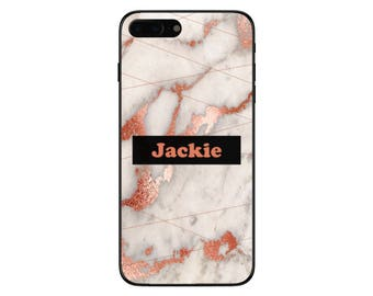 Personalised Rose Gold Marble Name Pattern Phone Case for Apple iPhone and Samsung Galaxy 5 6 6s 7 8 10