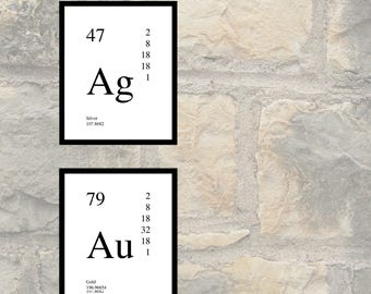 Au periodic table etsy periodic table elements silver and gold wall art print poster printable urtaz Gallery