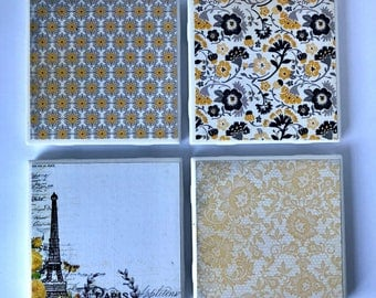 Yellow, Black, and White Vintage Antique Damask Coaster Set- Set of 4- Home Decor