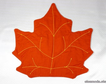 Placemat orange, placemat table, placemat round table, tablecloth pad, placemat embroidered, placemat coaster, maple leaf fabric, handmade.