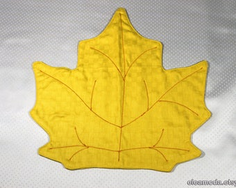 Placemat table, placemat yellow, placemat round table, tablecloth pad, placemat embroidered, placemat coaster, maple leaf fabric, handmade.