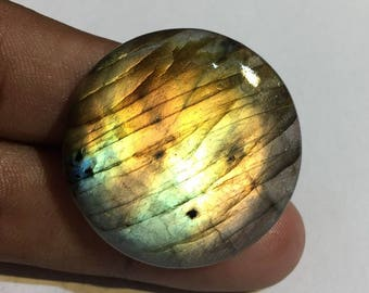 60.4 Cts 100% Natural Medagascar's Labradorite Cabochon Yellow Multi Fire Polished Cabochon Healing Quartz Round Shape 33x33x6 mm N#1477-34