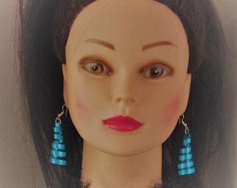 Blue spiral dangle earrings