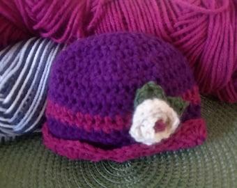 Preemie Sized Beanie, Vintage Style With Flower, Handmade Crochet Baby Hat
