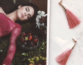Pink & Gold Tassel Drop Earrings