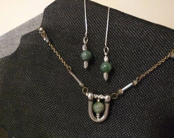 Jasper Shackle Pendant Necklace and Matching Earring - SOLD OUTs