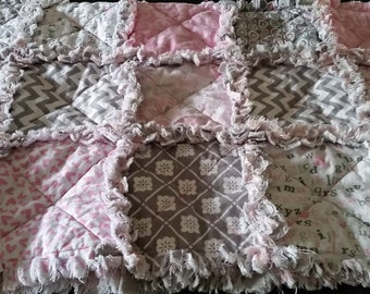 Homemade Reversible Baby Rag Quilt, beautiful, soft flannel and cotton.