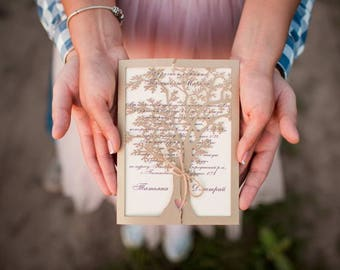 Wedding Invitation, Luxury LaserCut, Tree, gold, rustic wedding invite, cutom wedding invitations