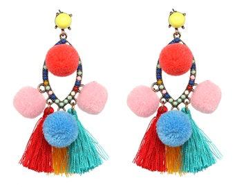 Blair Statement Earrings with Pom Pom Detail