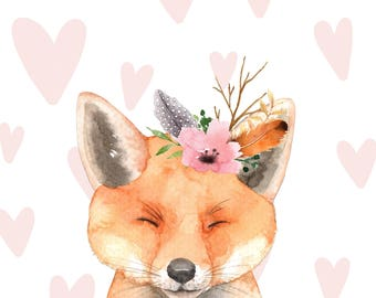 CUTE FOX Art Print - Instant Download