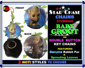 BABY GROOT Double Button Key Chains w/ Genuine Rabbit fur Ball & Vine leaves Qik-Shp USA