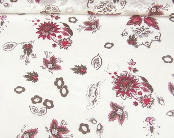 Cotton fabric 80206 in white with floral print red