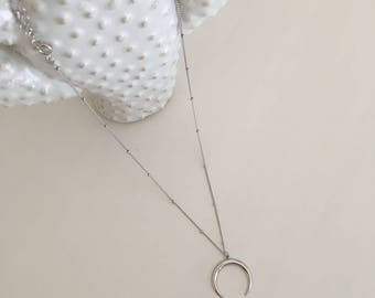 925 silver Half Moon Necklace-Platinum Plated