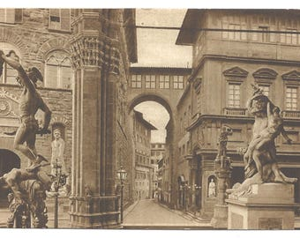Vintage Postcard of Florence inside the Loggia de Lanzi