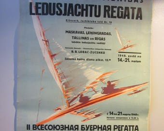 "Original Soviet Russia - Latvia Poster "" Ice Yacht Regatta "" y1948"