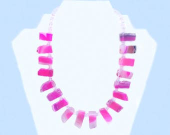 Pink Agate and Glass Necklace