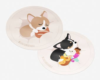 Sleeping Corgi Puppy Vinyl Laptop/Luggage Sticker