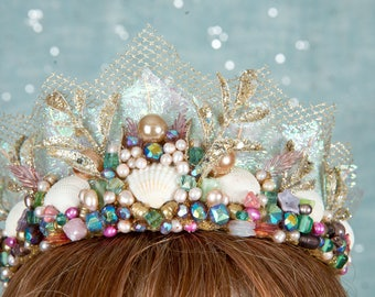 Beaded mermaid crown,shell crown