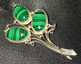 Sterling Silver Malachite Art Nouveau Floral Brooch Ornate Pin