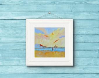"Art Print of ""Three Cousins"" Beach Art. Seascape. Family Scene. Seaside Art.3 Girls. Children Playing on the Seashore."
