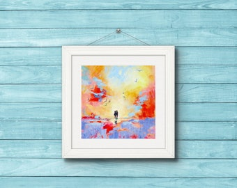 "Fine Art Print. Couple on the Beach.""Escape From the Crowds"". Romantic Print from Original Painting. Modern Art."