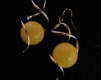 Baltic Amber Earrings, Sterling Silver Large Dangle 20 mm Bead