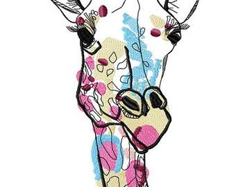 Ghost giraffe - machine embroidery design, embroidery giraffe, embroidery patterns, modern embroidery