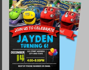 Instant Download, chuggington Birthday Invitation, chuggington Invitation, chuggington Invitation, Chalkboard- Free Thank You Card