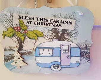 Christmas campervan/caravan hanging plaques