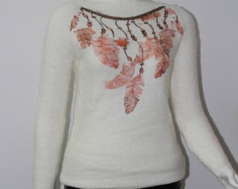 leaf-patterned women pullovers