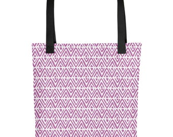 Magenta Pink Spring Crocus Diamond Tote Bag