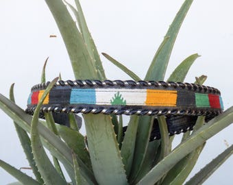 Vintage Leather Belt with Multi-Color Embroidery