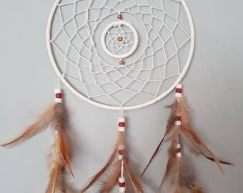Handmade white double ring Dreamcatcher