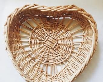 Heart Shaped Wicker Basket.