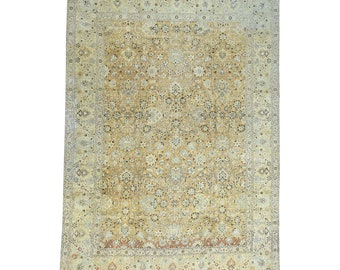 """9'6""""x13'1"""" Hand-Knotted Antique Persian Tabriz With Abrash Oriental Rug"""