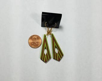 Green and Red Dangle Earrings