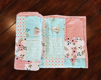 Pink & Mint Teepee Baby Patchwork Quilt
