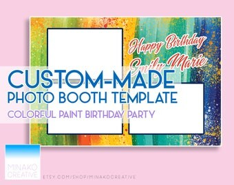 Custom Made Birthday Party Colorful Photobooth Photo Booth Template