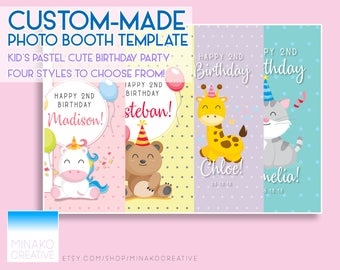 Custom Kid's Birthday Party Pastel Cute Animals Photobooth Photo Booth Template