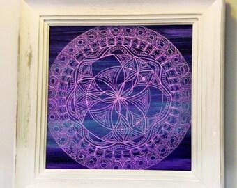 "Higher Order - custom, hand painted, Purple mandala in shabby chic, distressed frame (18"" x 18"") wall decor"